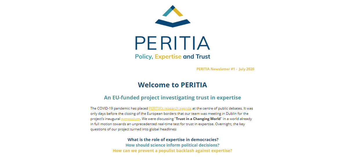 Welcome to PERITIA – First Newsletter Issue Published